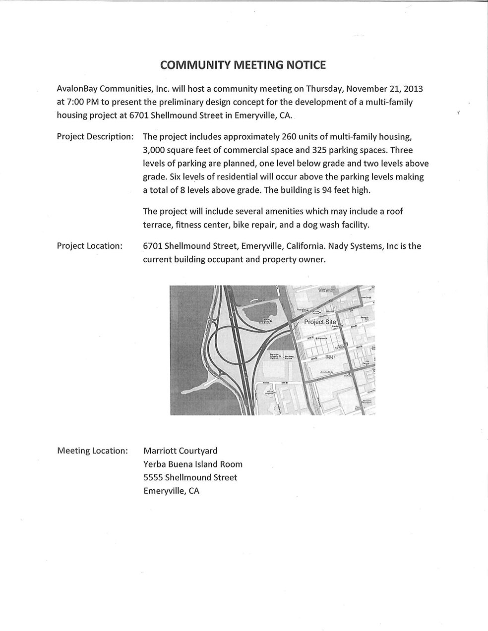 Avalon Bay Communities New Development Community Meeting